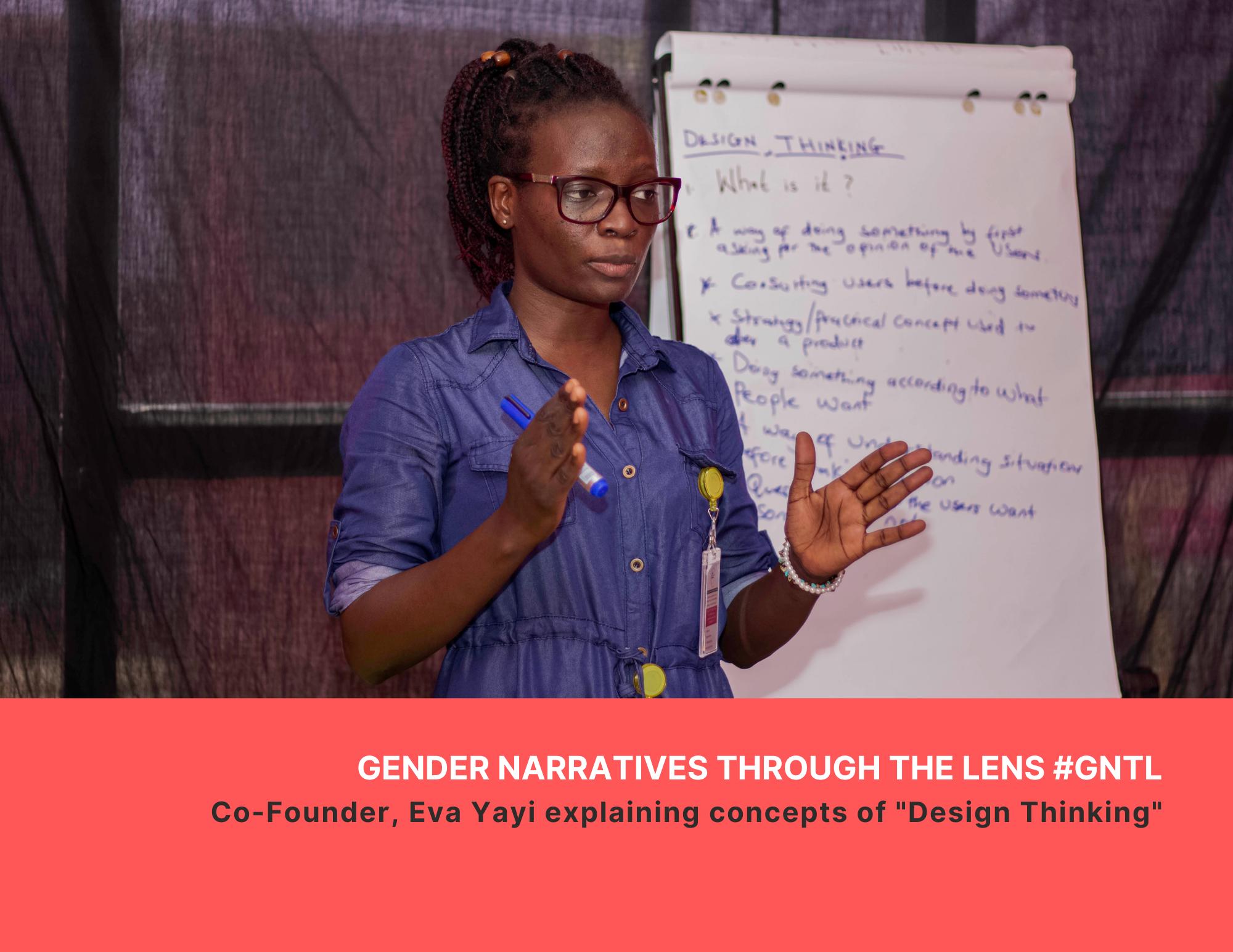 """Co-Founder, Eva Yayi explaining concepts of """"Design Thinking"""""""